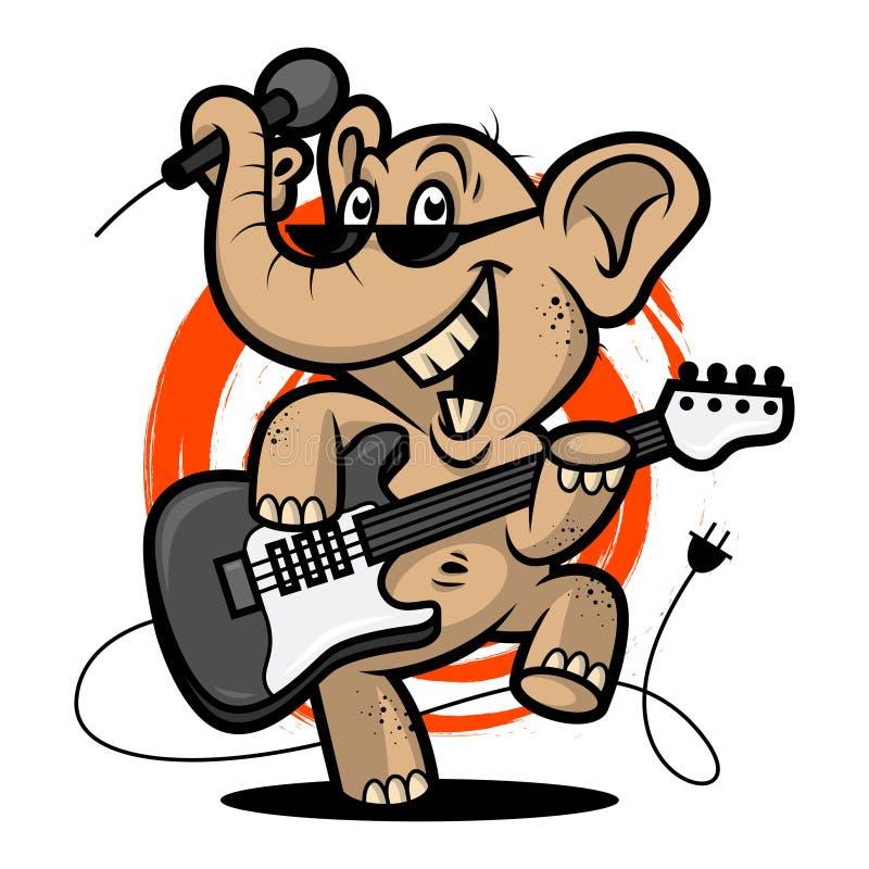 Elefanten spelar gitarren vektor illustrationer