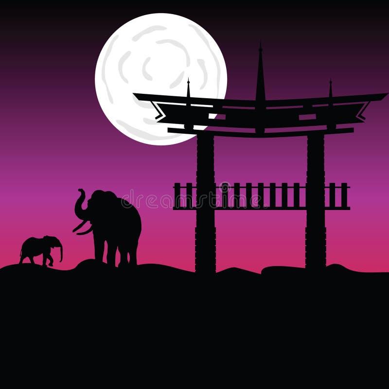 Elefanten und chinesischer Gebäudevektor stock abbildung
