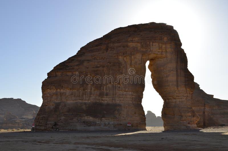 Elefanten vaggar, lokaliserat på Hejaz område, det Madinah landskapet Saudiarabien fotografering för bildbyråer