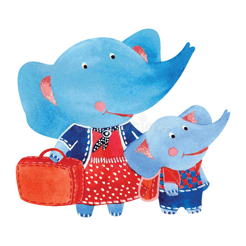 elefanter royaltyfri illustrationer