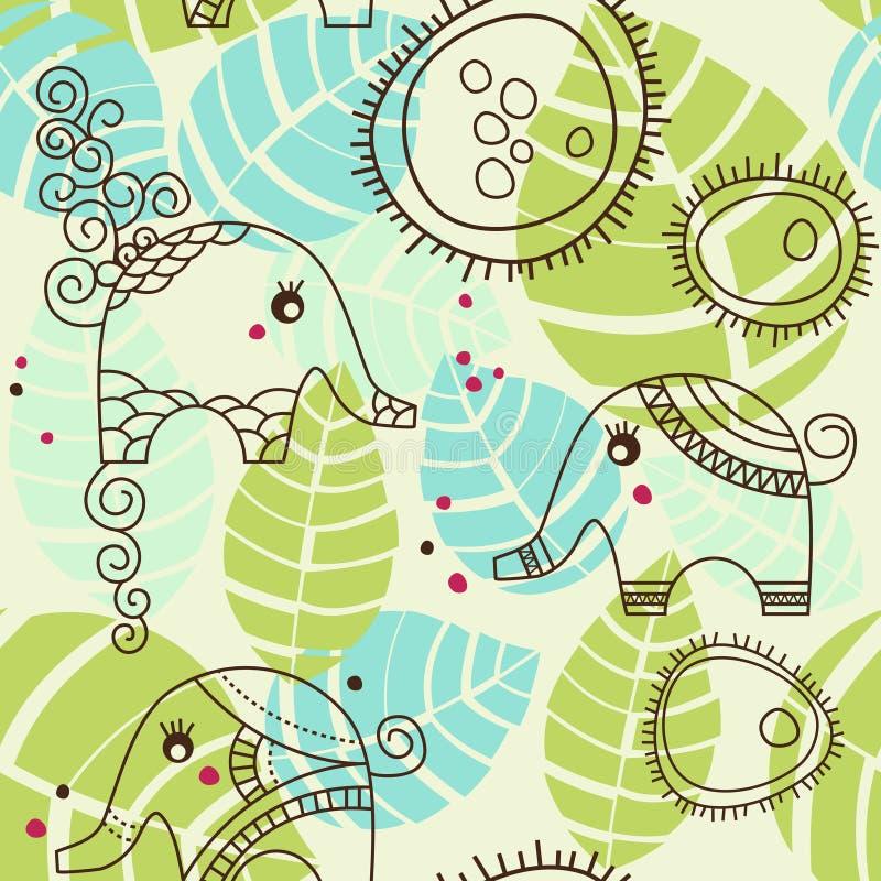 elefanter arbeta i trädgården little stock illustrationer