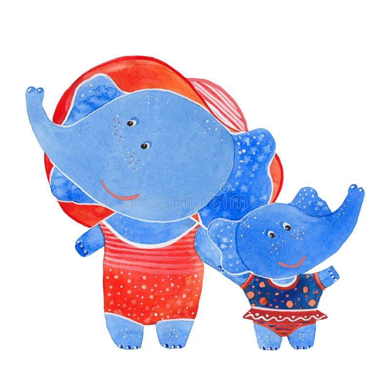 Elefanter i baddräkter stock illustrationer