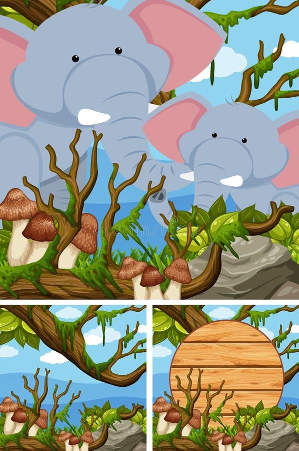 Elefanter i skogen och trätecknet stock illustrationer