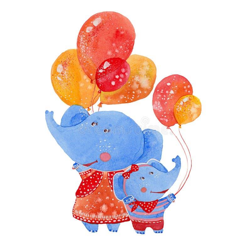 Elefanter med ballonger vektor illustrationer