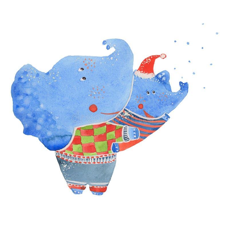Elefanter och första snö stock illustrationer