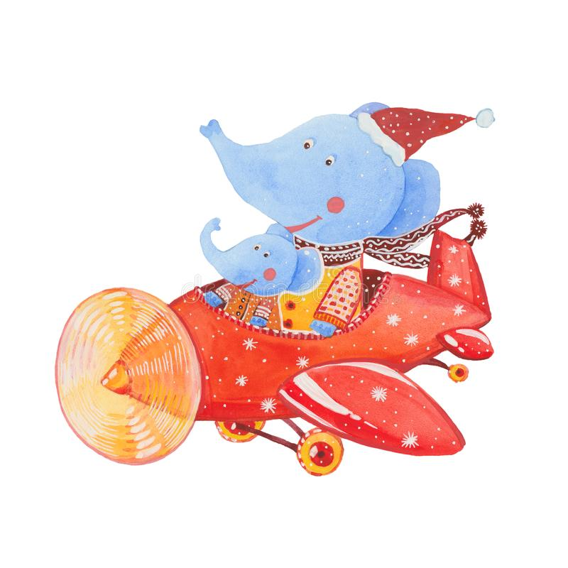 Elefanter på en nivå vektor illustrationer