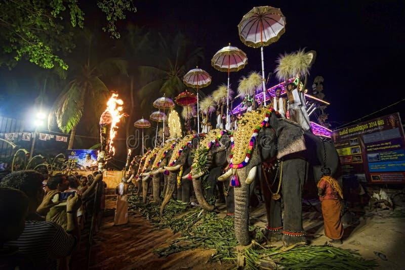 Elefanter på festivalen för hinduisk tempel royaltyfri bild