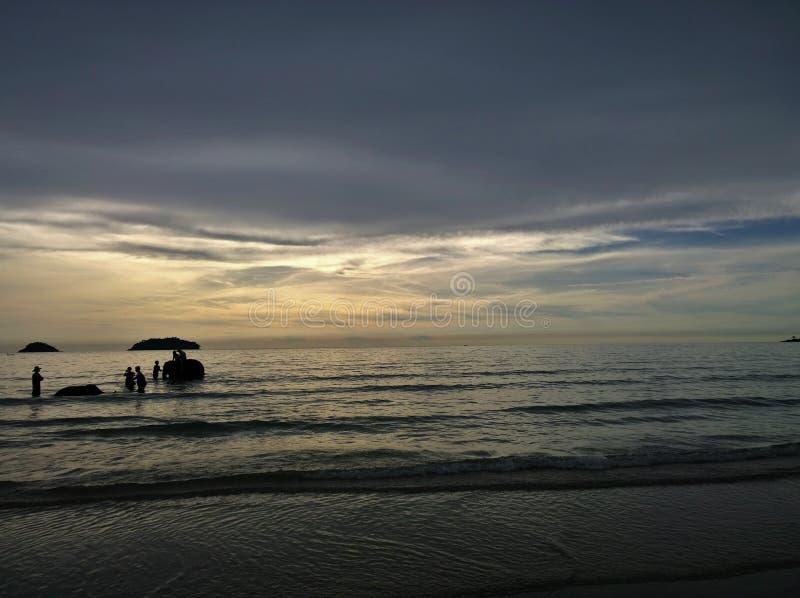 Elefanter som badar i havet under solnedgång Koh Chang ö, Thailand royaltyfri bild