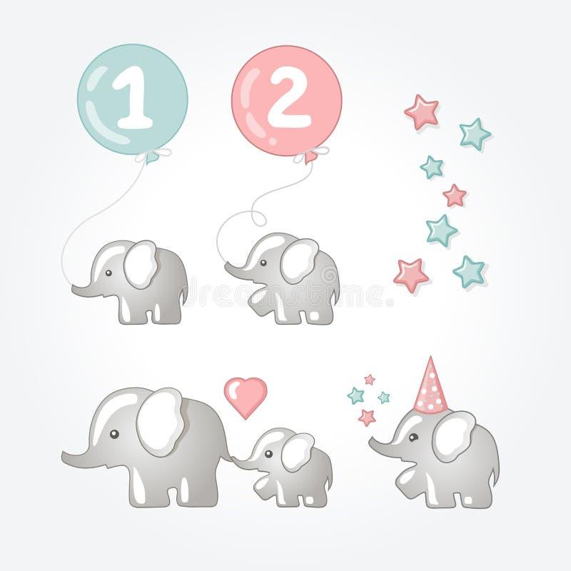 Elefantes ilustração stock
