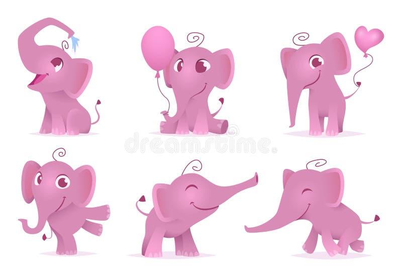 Elefantes adorables Los animales africanos felices lindos y divertidos del bebé aman los personajes de dibujos animados del vecto stock de ilustración
