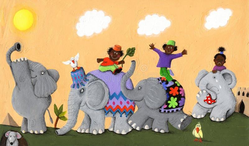 Elefantes africanos y niños felices y tristes ilustración del vector
