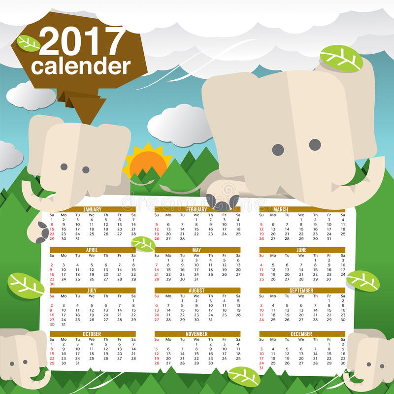 Elefantes bonitos 2017 começos domingo do calendário ilustração stock