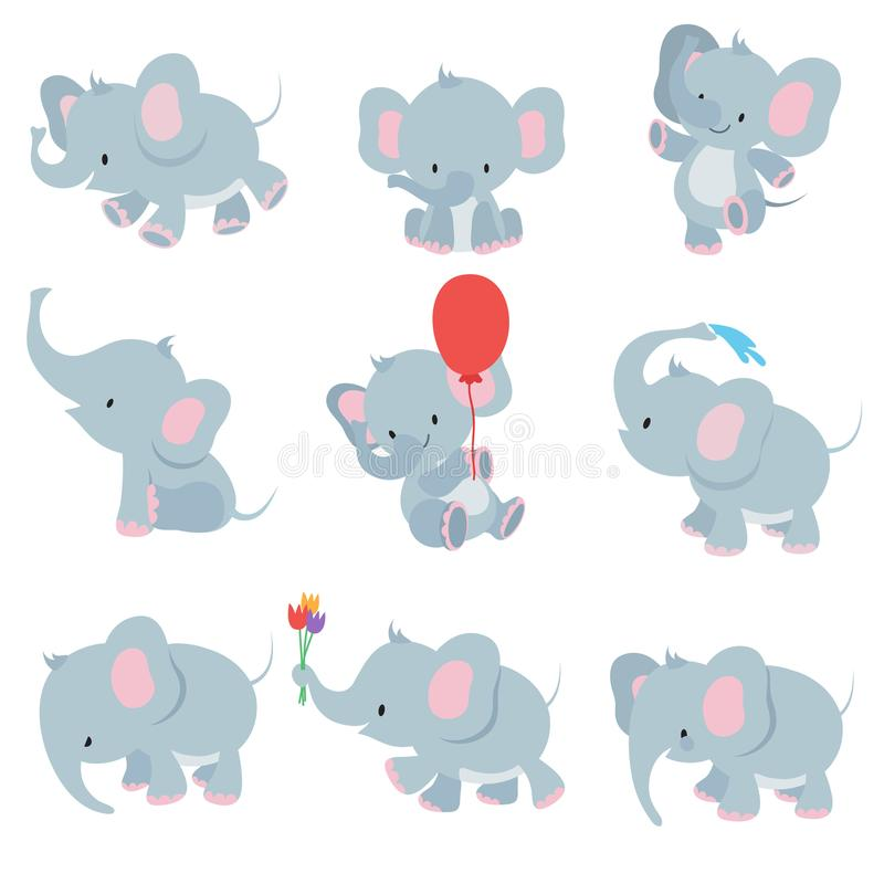 Elefantes bonitos do bebê dos desenhos animados Grupo africano do vetor dos animais do safari dos animais ilustração stock