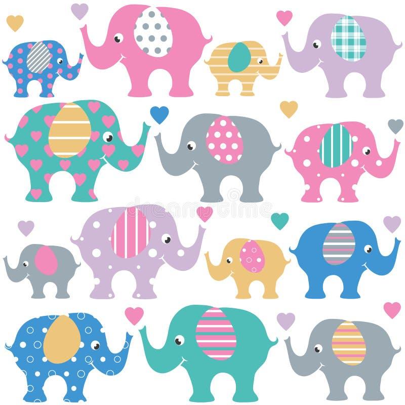 Elefantes bonitos e grupo dos corações ilustração royalty free