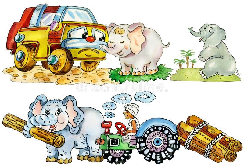 Elefantes bonitos engraçados do bebê ilustração stock