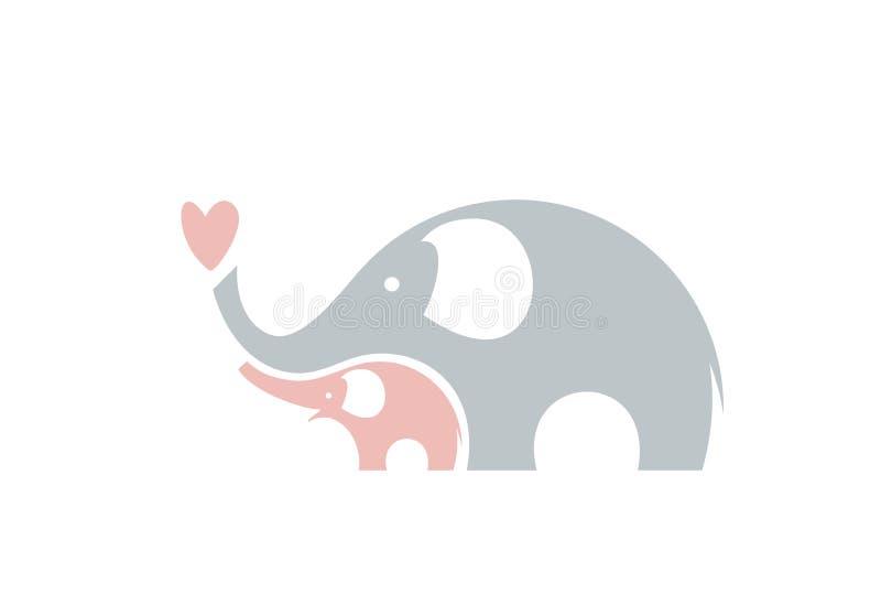 Elefantes bonitos Família ilustração royalty free