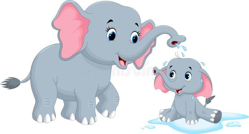 Elefantes da mãe dos desenhos animados que banham sua criança ilustração royalty free