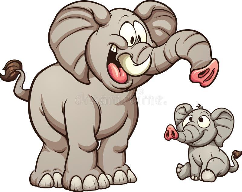 Elefantes de la historieta ilustración del vector