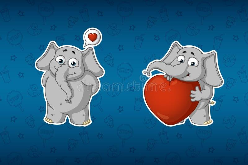 Elefantes de las etiquetas engomadas Él está en amor, él tiene un corazón grande Sistema grande de etiquetas engomadas Vector, hi ilustración del vector