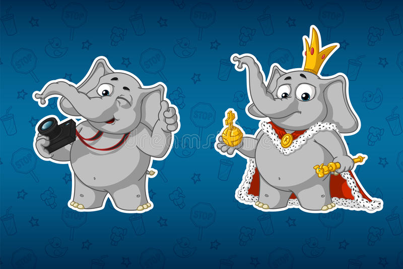 Elefantes de las etiquetas engomadas Fotógrafo con una cámara Rey en los trajes Sistema grande de etiquetas engomadas Vector, his stock de ilustración
