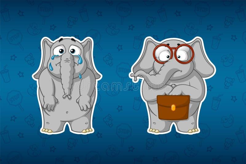 Elefantes de las etiquetas engomadas Llorando, rasgones de caída, bajando sus manos El botánico se está colocando con una cartera stock de ilustración