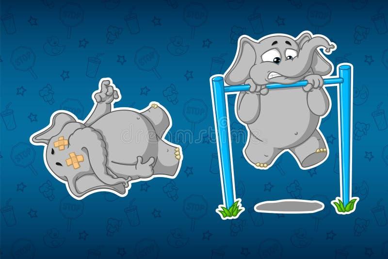 Elefantes de las etiquetas engomadas Torniquete a levantar Él ` s difícilmente para él Cadáver de mentira Sistema grande de etiqu ilustración del vector