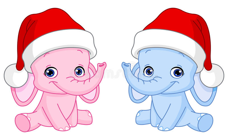 Elefantes del bebé de la Navidad libre illustration