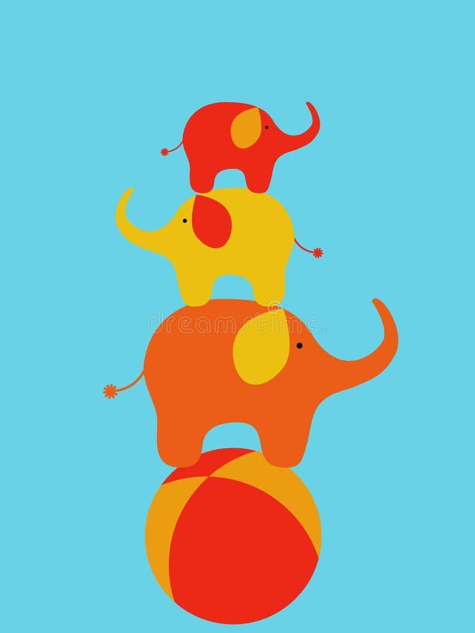 Elefantes del circo ilustración del vector
