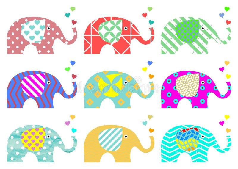 Elefantes del vintage Modelo retro Texturas y formas geométricas Png disponible libre illustration