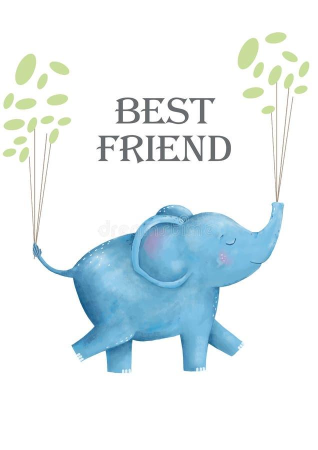 Elefantes e flores para o animal digital do clipart do cartão do projeto do estilo engraçado de tiragem bonito da criança do c ilustração do vetor