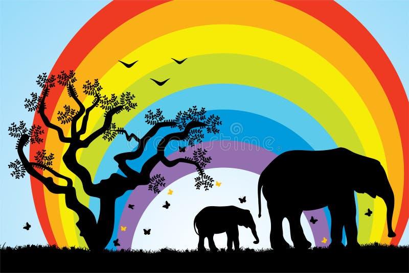 Elefantes em África ilustração stock