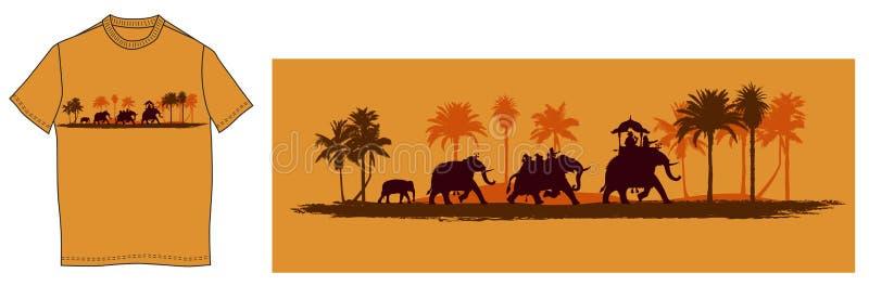 Elefantes indianos ilustração royalty free