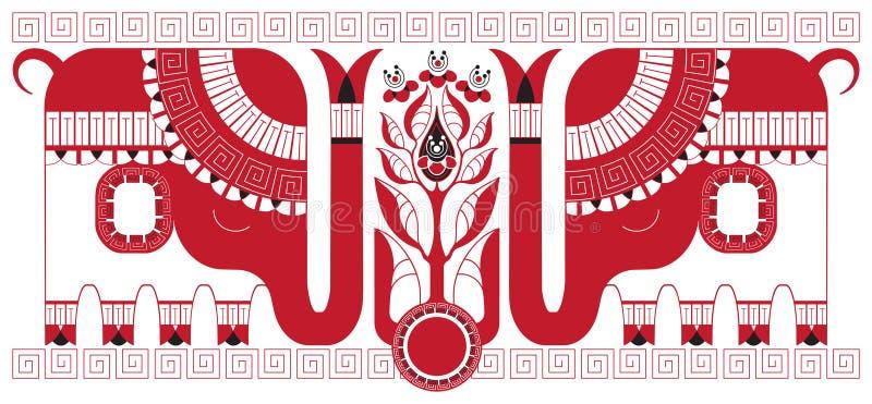 Elefantes indianos e o arbusto do chá ilustração royalty free