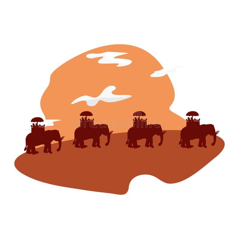 Elefantes indios en la silueta del paisaje stock de ilustración