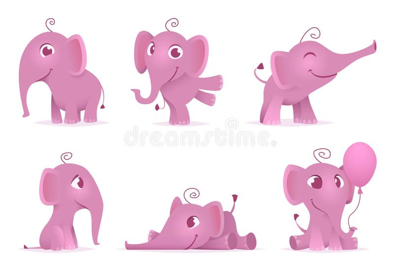 Elefantes lindos del bebé Los caracteres adorables divertidos africanos salvajes del vector de los animales en diversa acción pre libre illustration