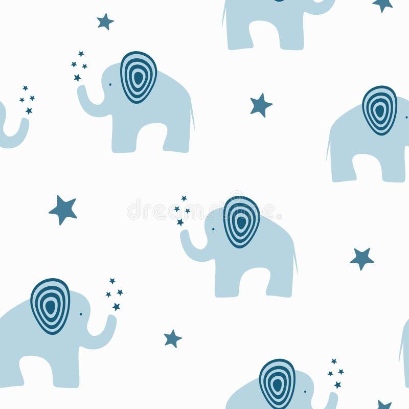 Elefantes lindos repetidos con las estrellas Modelo inconsútil de la historieta stock de ilustración