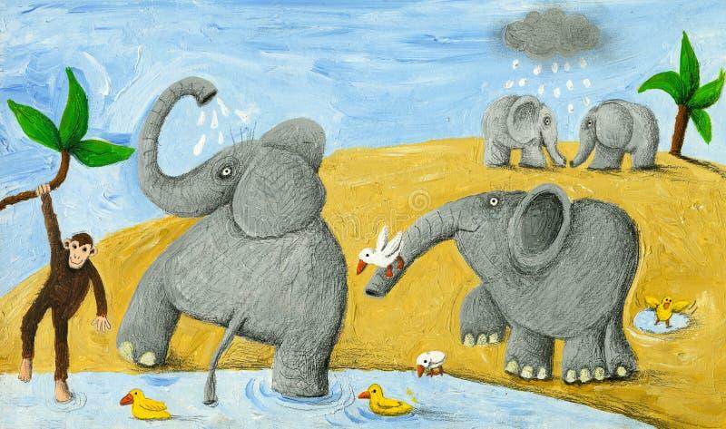 Elefantes que se bañan libre illustration