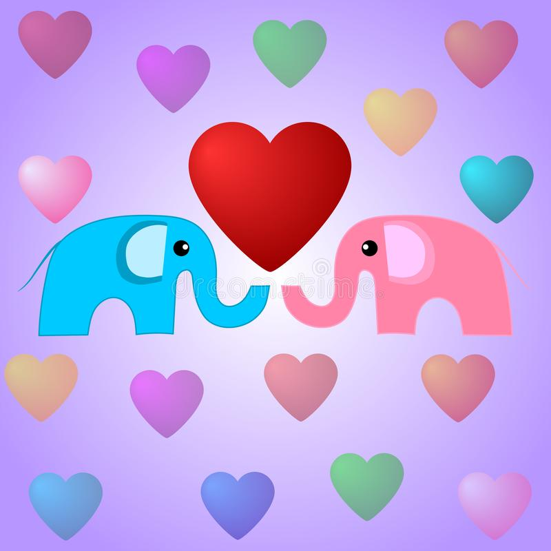 Elefantes y corazones lindos Ejemplo del día de tarjetas del día de San Valentín Elefantes en amor Ilustración del vector para su ilustración del vector