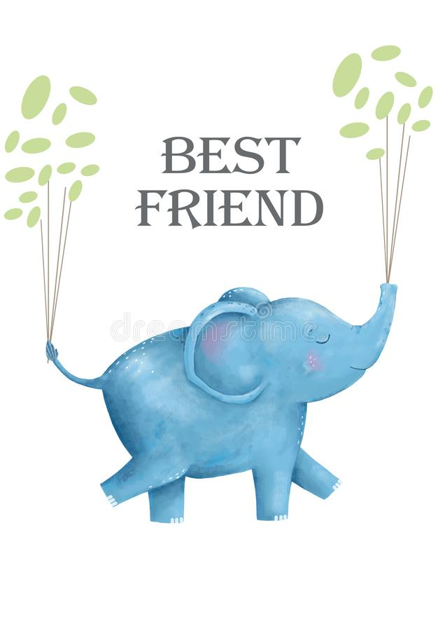 Elefantes y flores para el animal digital del clip art de la tarjeta del diseño del estilo divertido de dibujo lindo del niño d ilustración del vector
