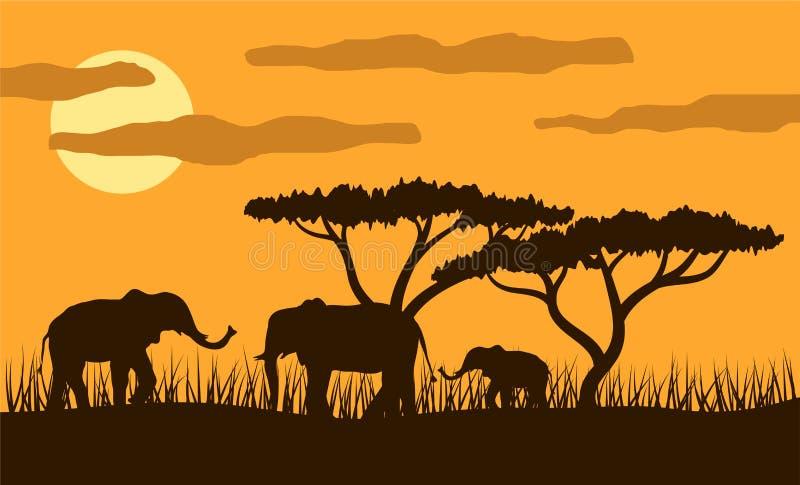 Elefantfamilj i Savannah Sunset Flat Style stock illustrationer
