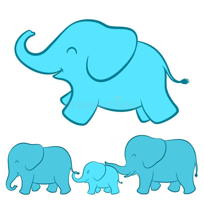 Elefantfamiljtecknad film vektor illustrationer