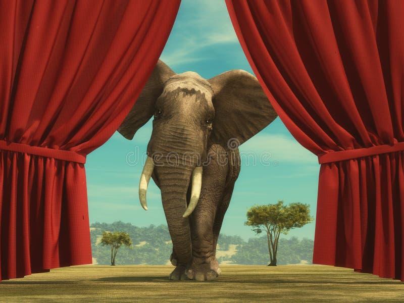 Elefantgardinen royaltyfri illustrationer