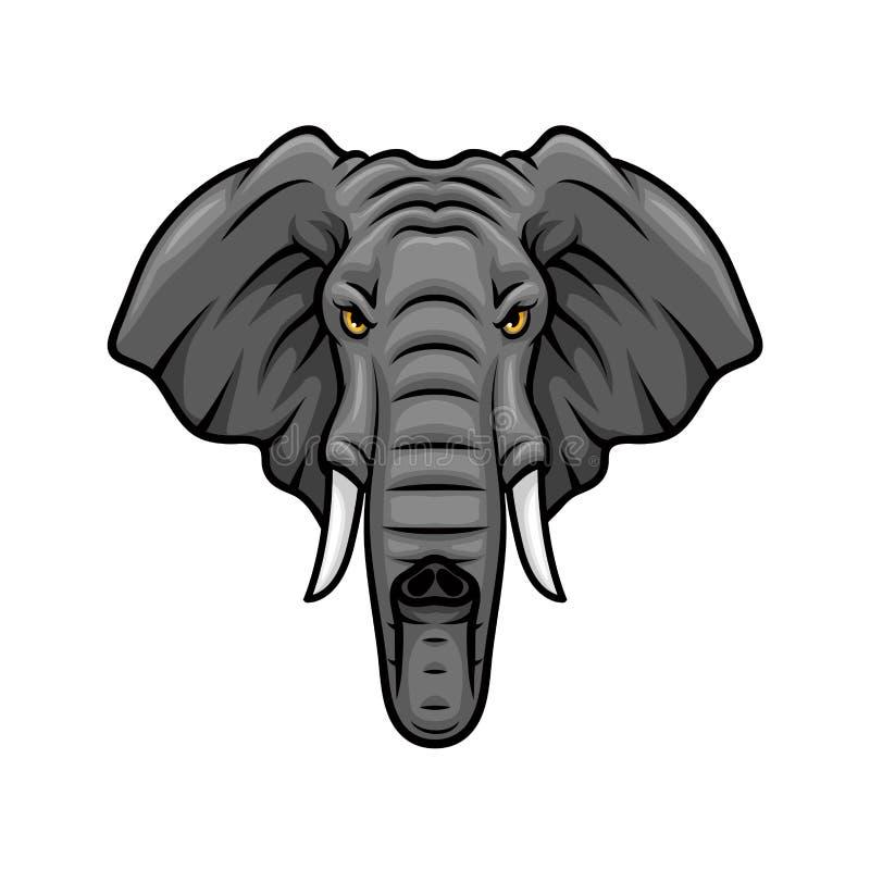 Elefanthuvud, beten och symbol för stamvektormaskot stock illustrationer