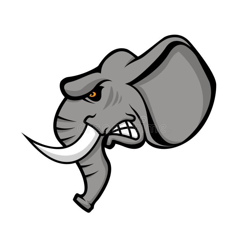 Elefanthuvud som isoleras på vit bakgrund Sportlag eller klubba e stock illustrationer