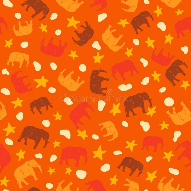 Elefanti arancio e gialli senza cuciture del modello del grande elefante sveglio, per i bambini o il tessuto dei bambini royalty illustrazione gratis