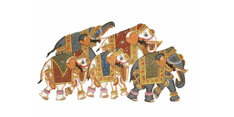 Elefanti Caparisoned illustrazione di stock
