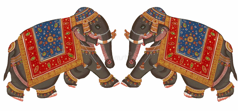 Elefanti Caparisoned sulla parata. illustrazione di stock