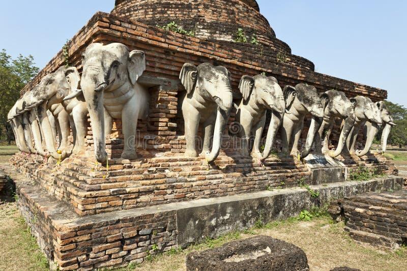 Elefanti del tempiale antico del Siam fotografia stock libera da diritti