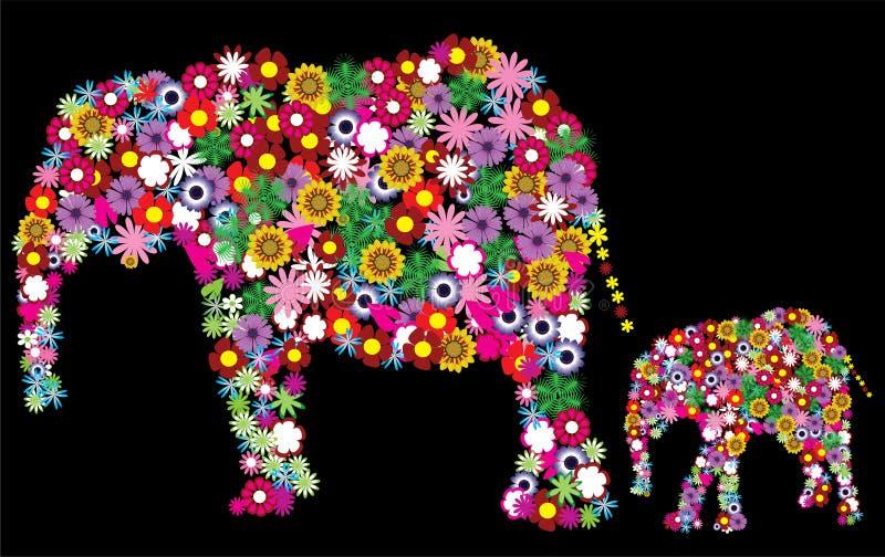 Elefanti floreali royalty illustrazione gratis