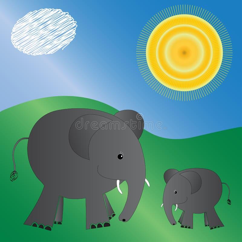 Elefanti illustrati illustrazione di stock